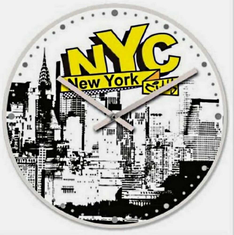 horloge murale new york verre graffitis 30 cm deco ebay. Black Bedroom Furniture Sets. Home Design Ideas