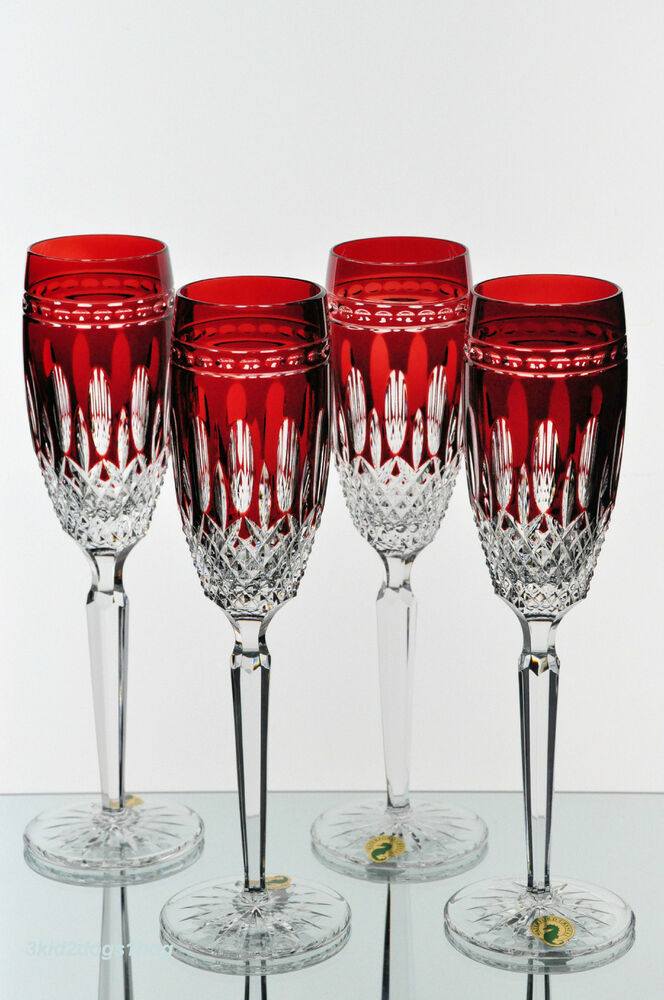 4 Waterford Clarendon Ruby Red Cut to Clear Crystal Wine Champagne Flutes New | eBay