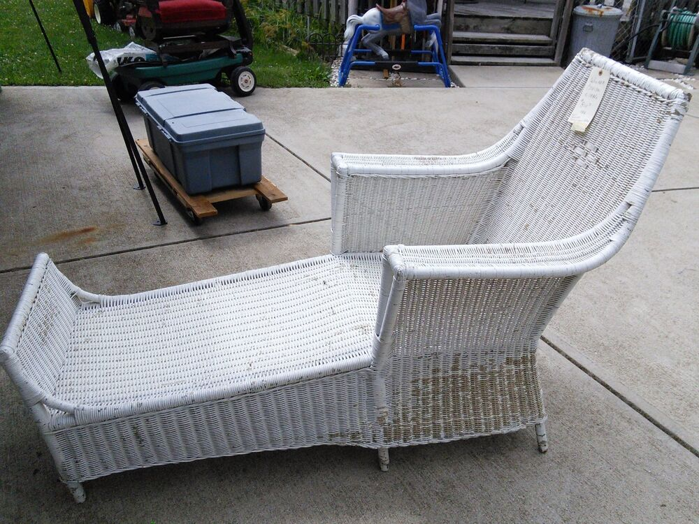 antique wicker chaise lounge circa 1880 ebay. Black Bedroom Furniture Sets. Home Design Ideas