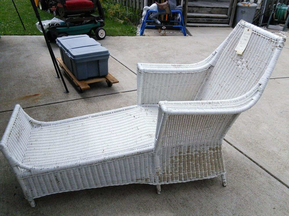 Antique wicker chaise lounge circa 1880 ebay for Antique wicker chaise
