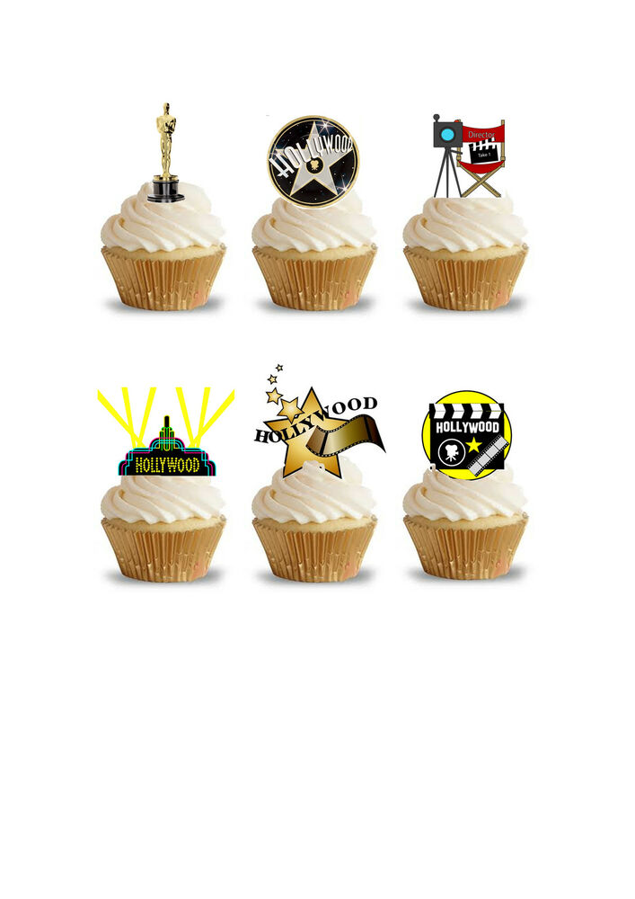 Edible Themed Cake Decoration : 32 Stand Up Hollywood Movie Oscar Themed Premium Edible ...