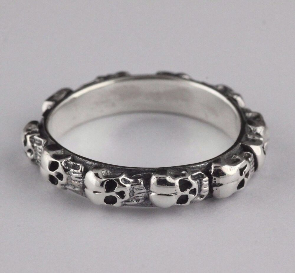solid 925 sterling silver vintage style skull biker With skull wedding band rings
