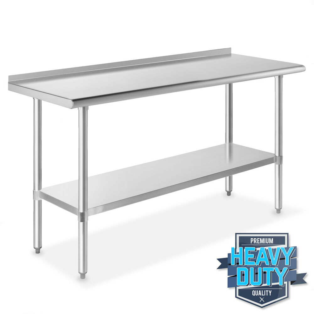 Stainless steel kitchen restaurant work prep table with for Table cuisine 60 x 80