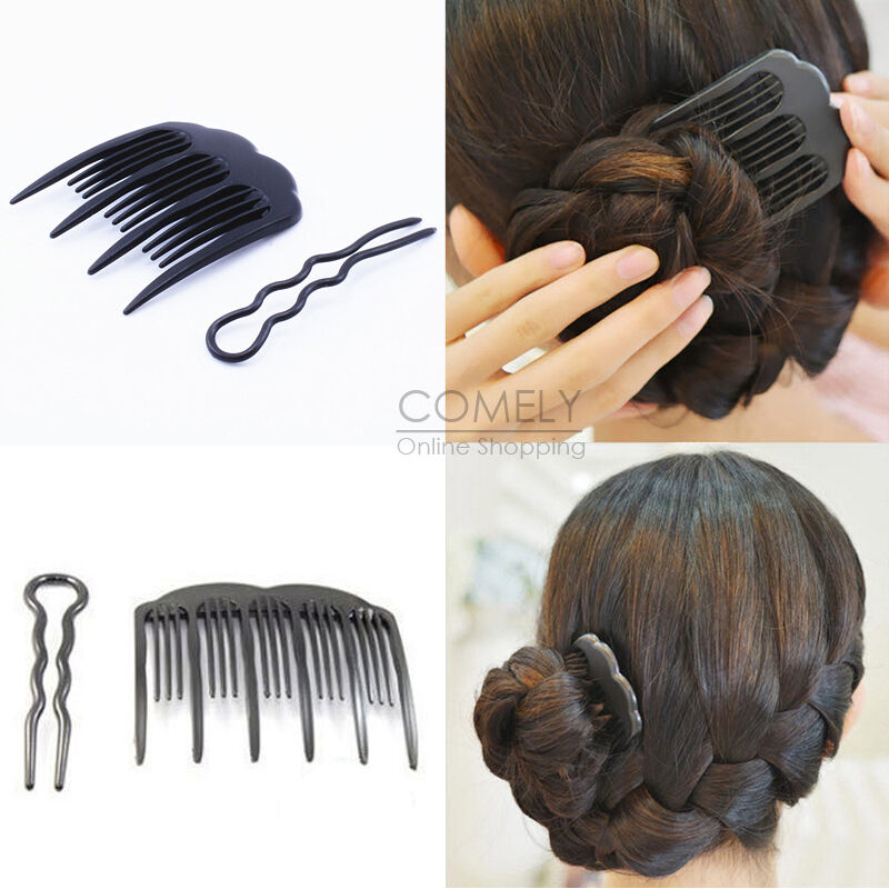 hair comb style 2pcs black plastic updo bobby pin amp comb set diy hair 5025