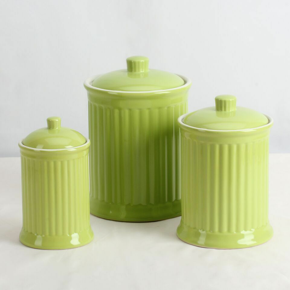 Simsbury Ceramic Canister Set of 3 in Citron Green by Omni