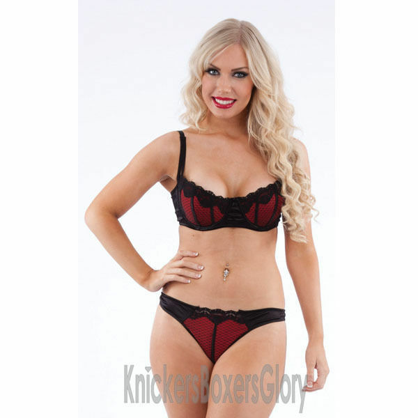 cd3b20800 Details about Sexy New Black Red Bra and Knickers Thong Lingerie Set Select  Size