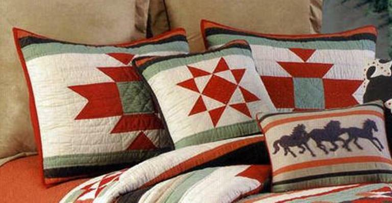 SOUTHWEST RANCH STANDARD SHAM : RED SOUTHWESTERN CABIN QUILTED PILLOW COVER eBay