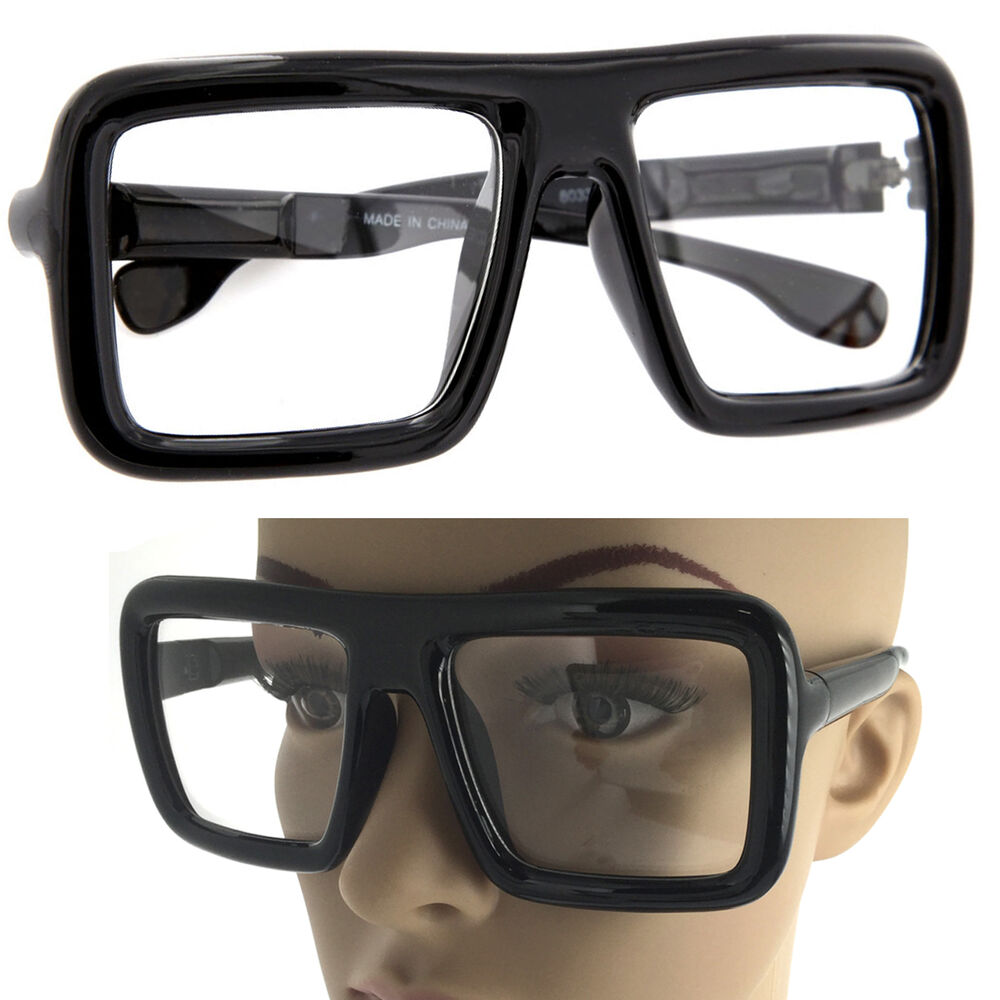 f1f25f32045 Details about Large Thick Retro Nerd Bold Big Oversized Square Frame Clear  Lens Glasses Black