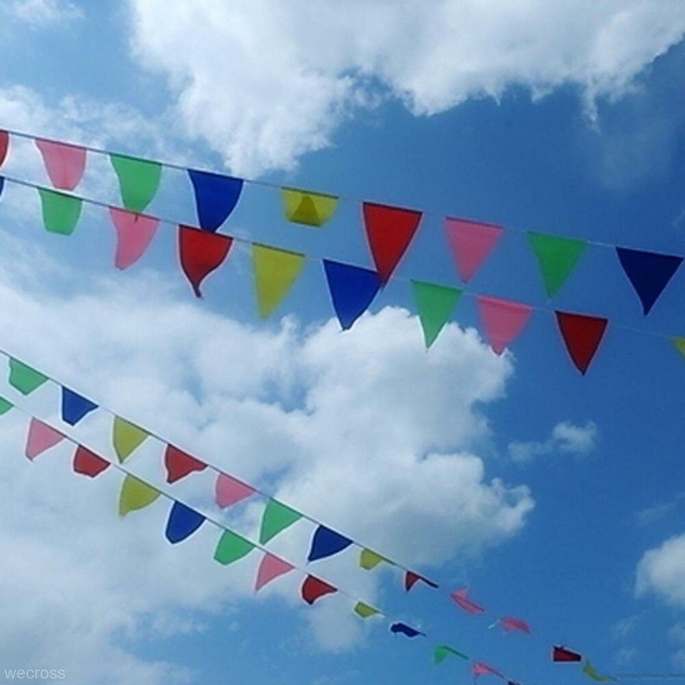 colorful 80m triangle flag pennant string banner festival