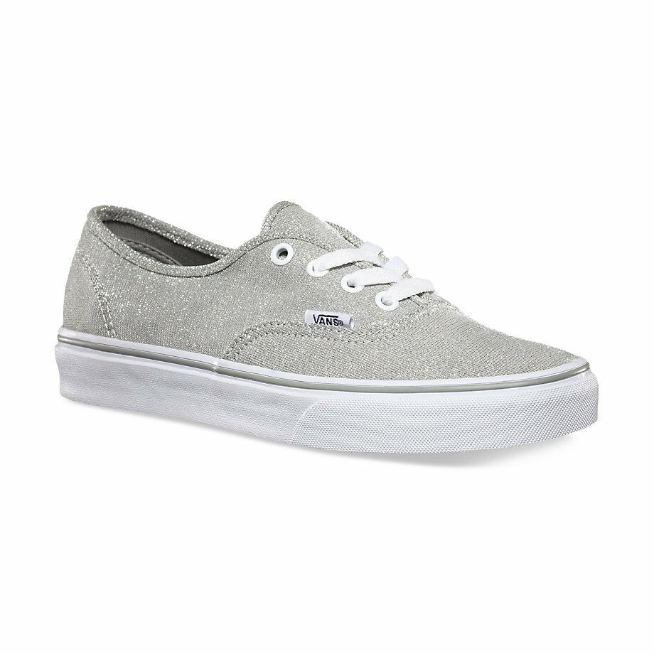 Vans AUTHENTIC Womens Shoes Silver SHIMMER Glitter SPARKLE Bling PROM Wedding