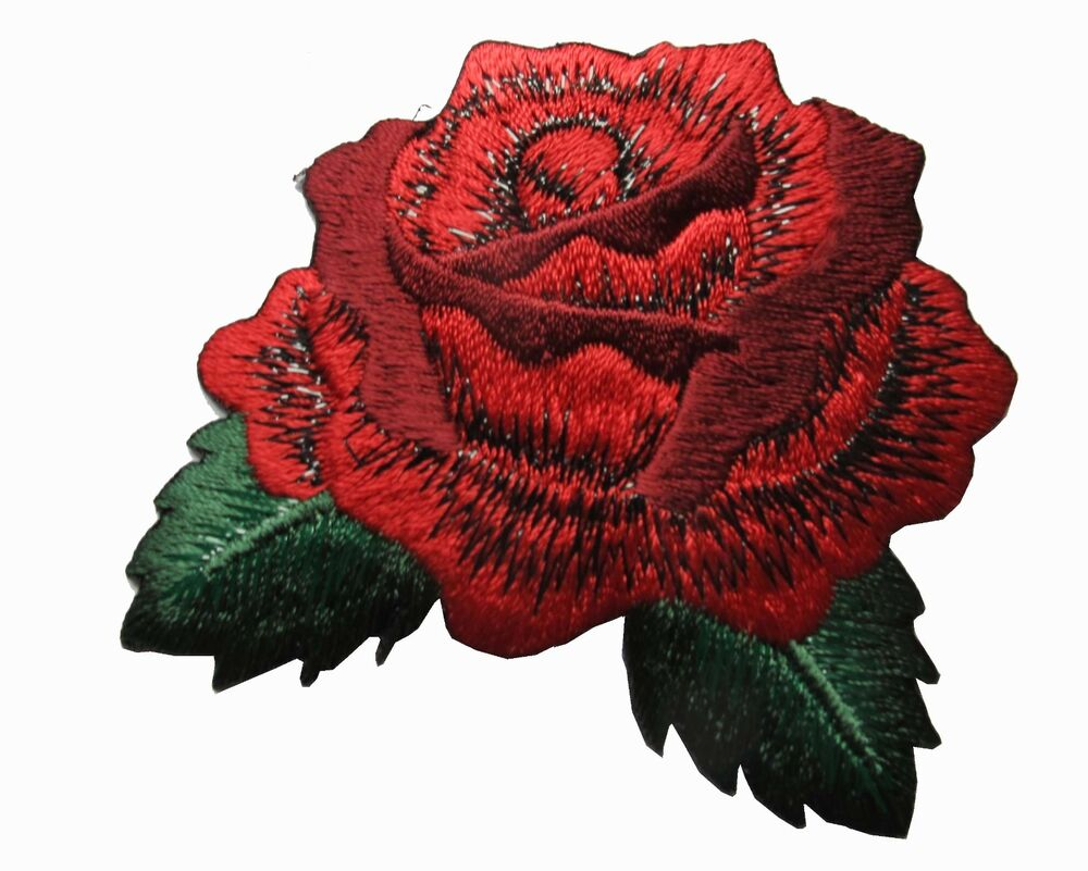 Quot red rose flower embroidery iron on applique