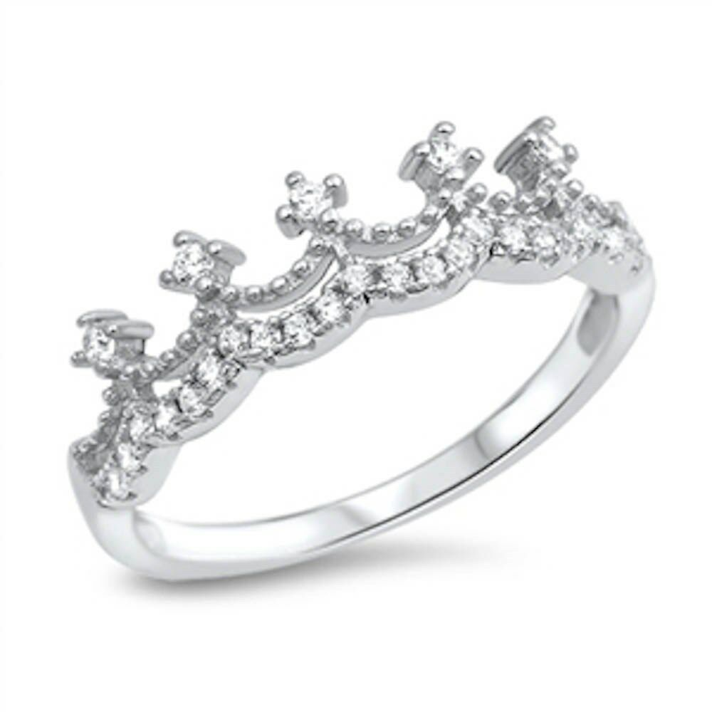 Cubic Zirconia Princess Crown 925 Sterling Silver Ring