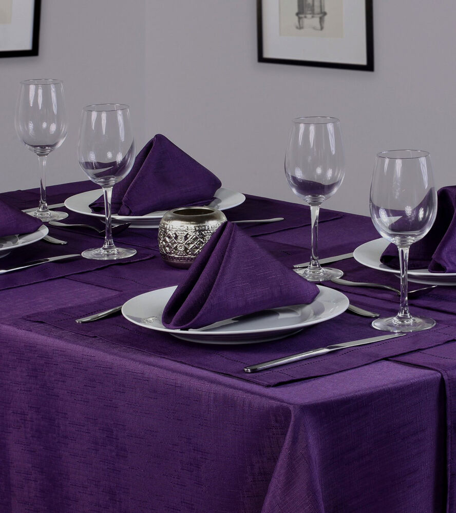 Linen Look Purple Table Cloths Plum Aubergine Birthday