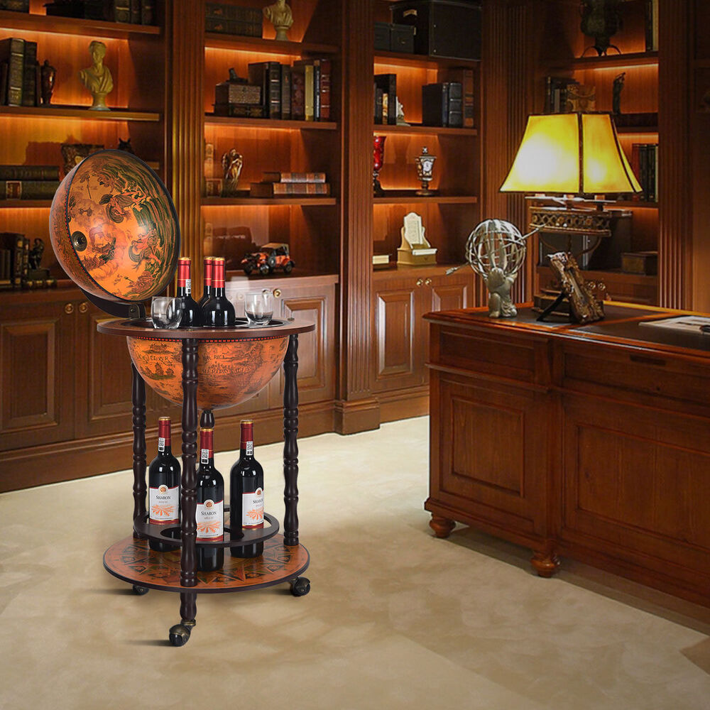 wood globe drink cabinet wine bar minibar beverage stand bottle italian 880mm ebay. Black Bedroom Furniture Sets. Home Design Ideas
