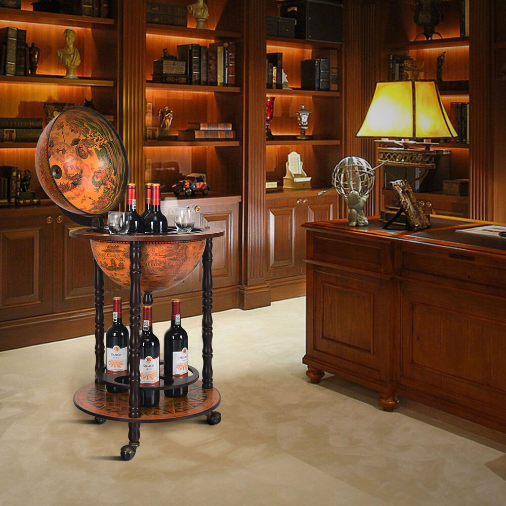 Wood globe drink cabinet wine bar minibar beverage stand for Stand pub