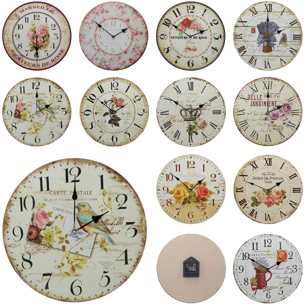 shabby chic large 34cm thin rustic wall clock french country floral flower ebay. Black Bedroom Furniture Sets. Home Design Ideas