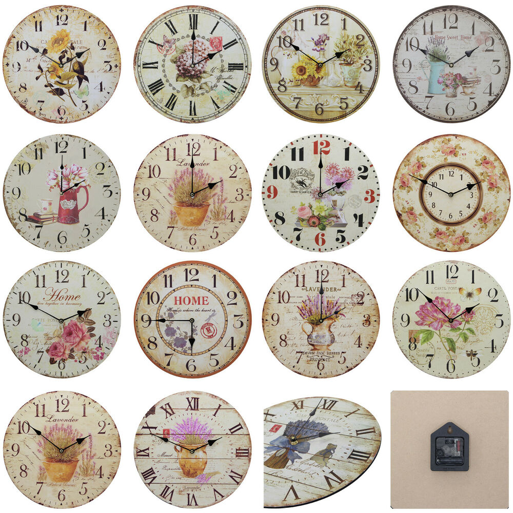 shabby chic large 34cm thin distressed rustic wall clock floral flowers ebay. Black Bedroom Furniture Sets. Home Design Ideas