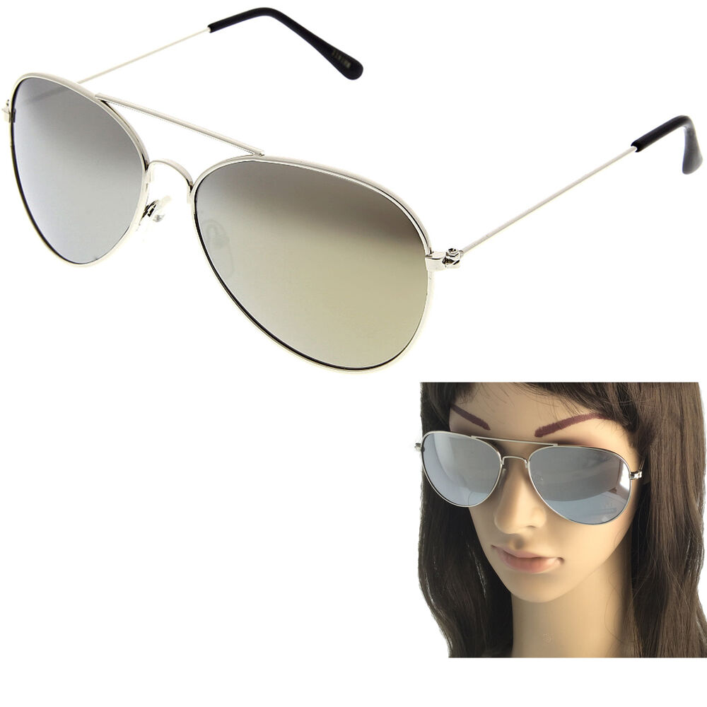 7d6487c26 Details about Aviator Sunglasses Vintage Mirror Lens New Men Women Fashion  Frame Retro Silver