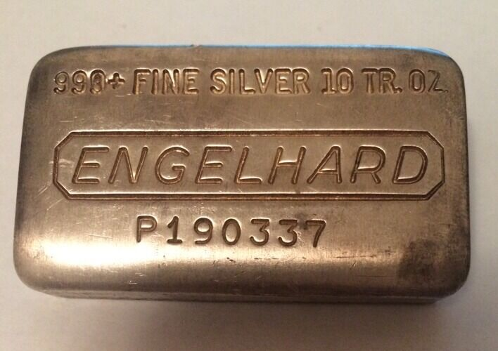 10 Troy Oz Engelhard 999 Fine Silver Bar Serial P190337