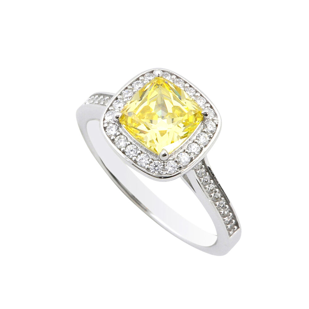 sterling silver 2ct canary yellow princess cut designer