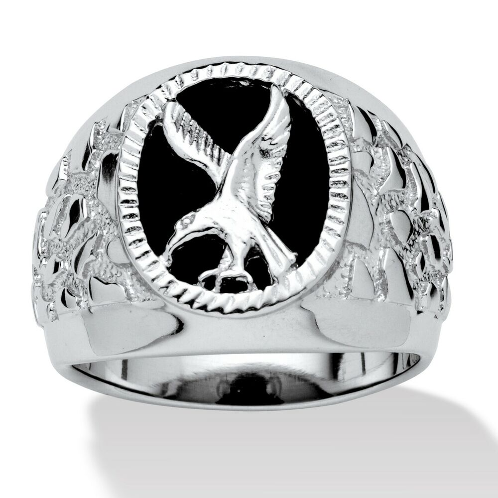 Mens Oval Sterling Silver Eagle Onyx Ring Size 8 9 10 11