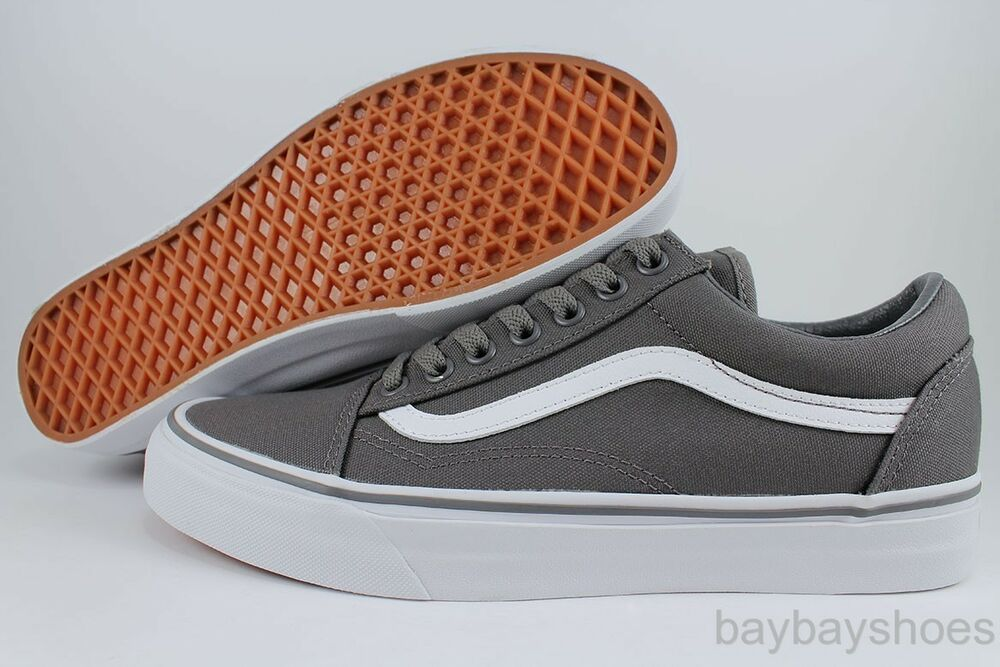 vans old skool pewter gray white low canvas classic skate. Black Bedroom Furniture Sets. Home Design Ideas