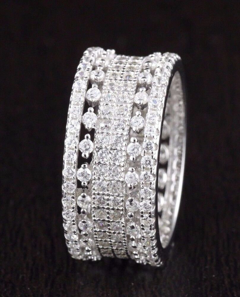 Womens 925 Sterling Silver Cz Wedding Engagement Band Ring