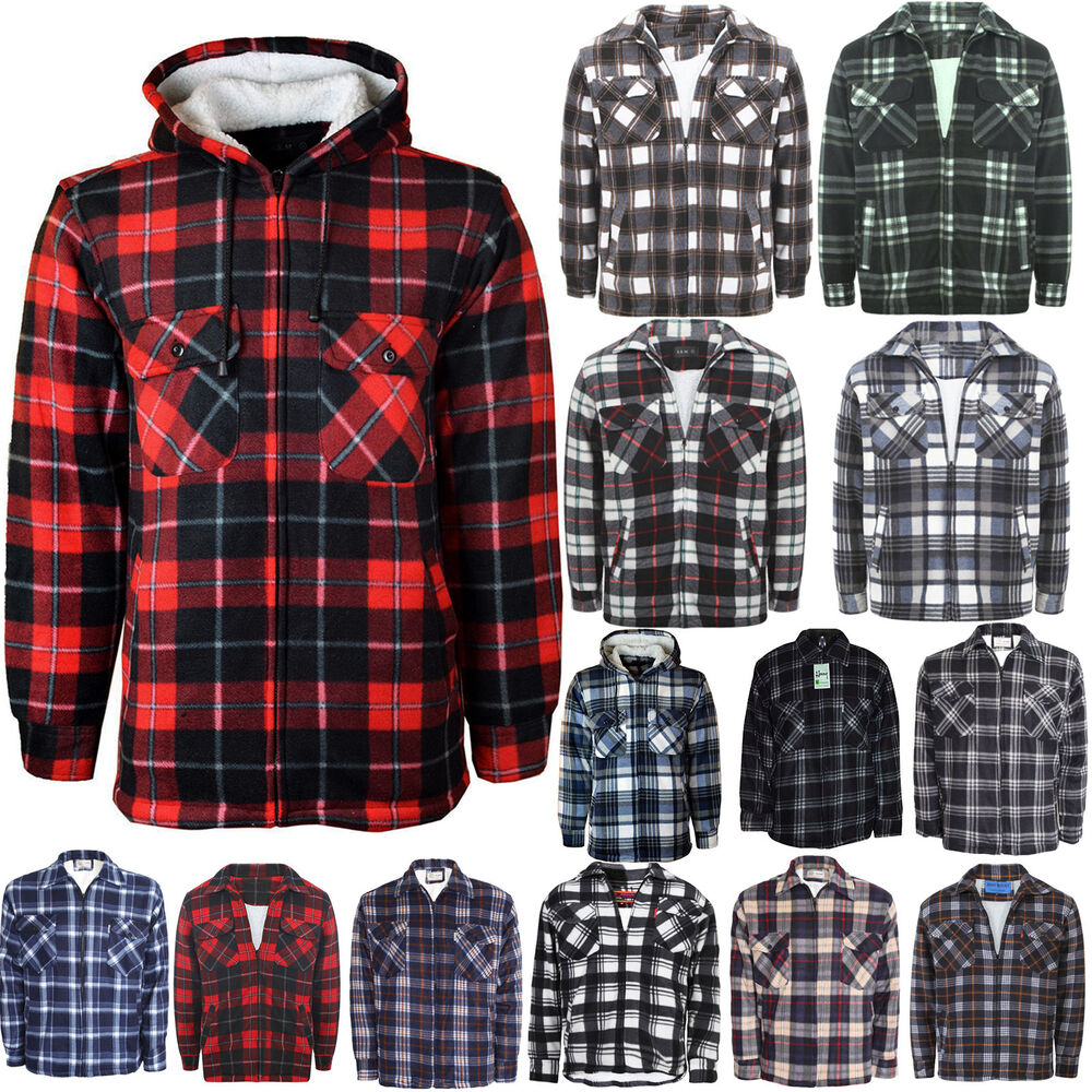 Mens Thick Padded Quilted Check Lumberjack Shirt Warm