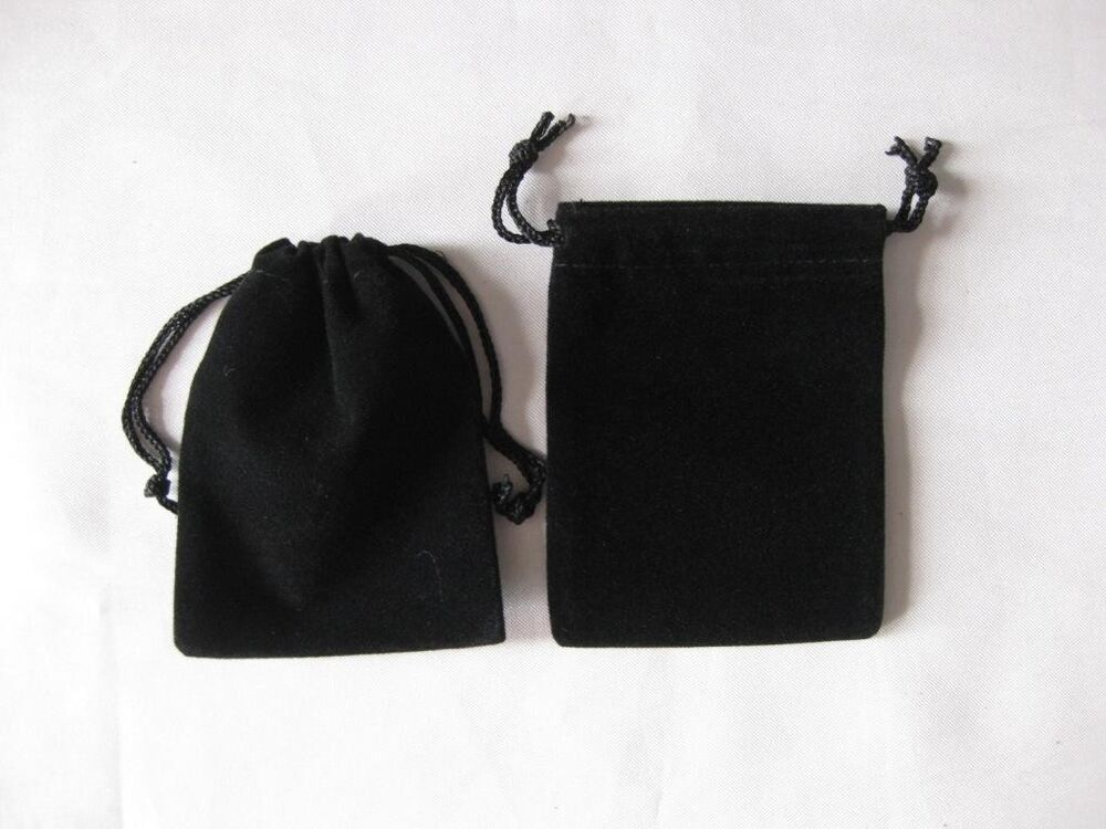 """Gift Bag: Lot Of 25 50 100 Black 2""""x 2.5"""" Jewelry Pouches Velvet"""