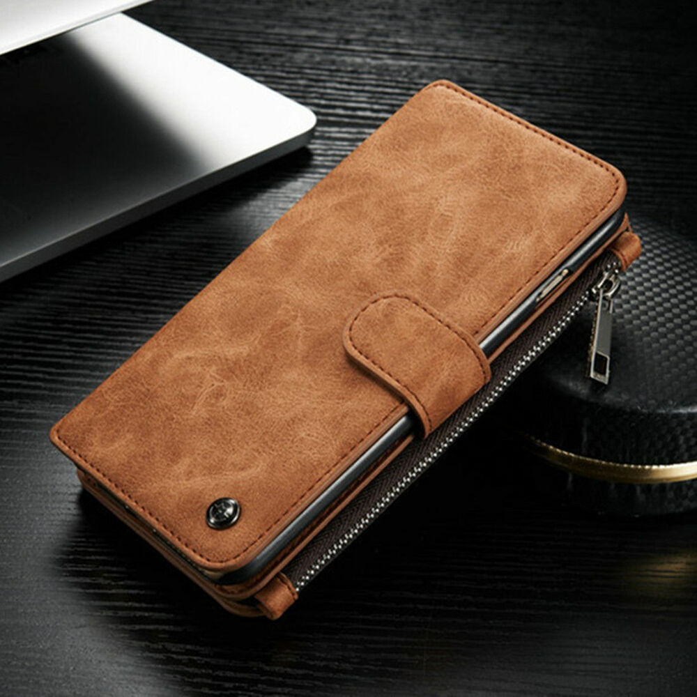 Genuine Leather Case Cover Zipper Wallet Card ...