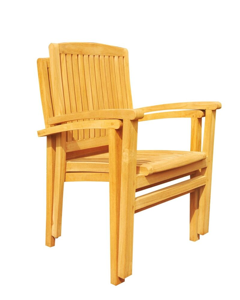 SET OF 2 STACKING ARM CHAIRS TEAK GARDEN OUTDOOR FURNITURE PATIO WAVE COLLECT