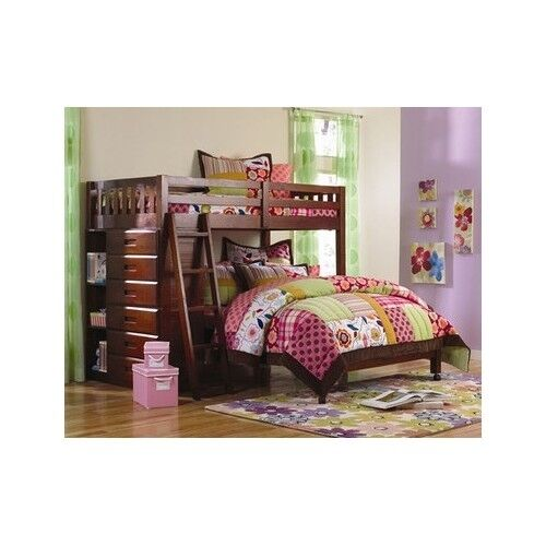 Twin Over Full Bunk Bed Storage With Ladder Bookshelves Drawers