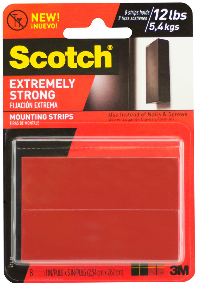 Scotch Extremely Strong Mounting Strips Double Sided