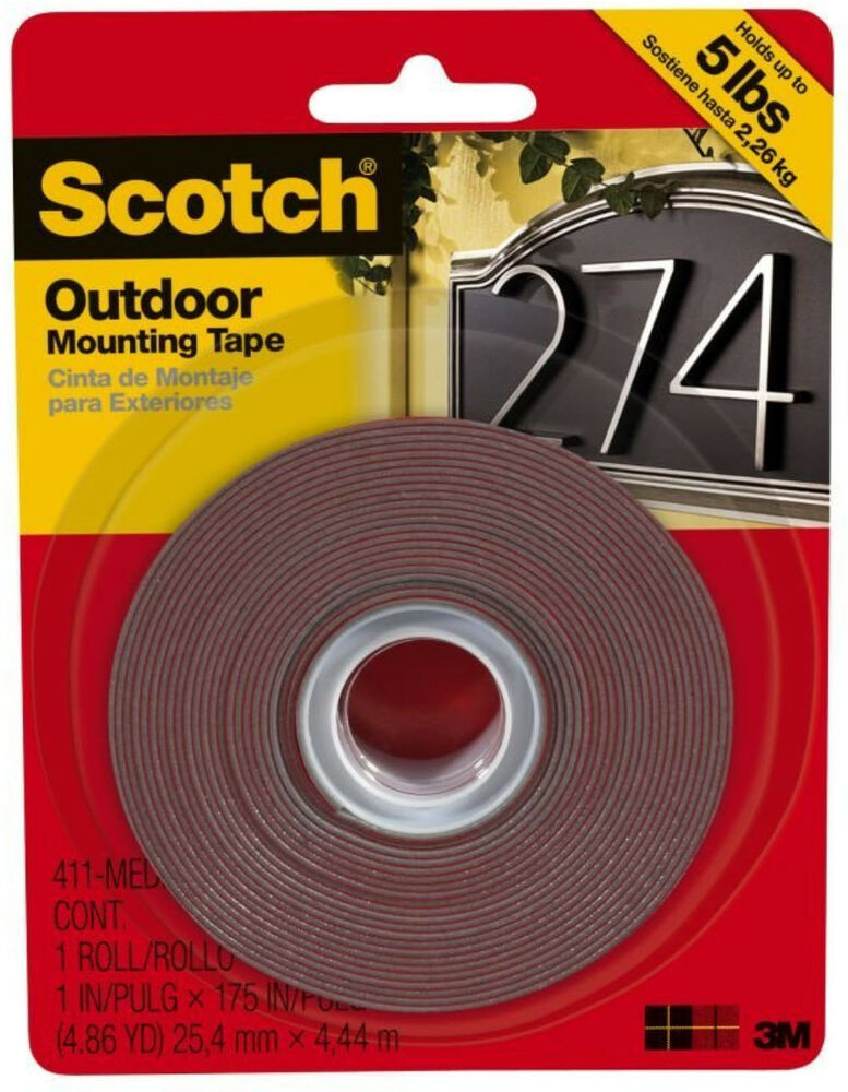 scotch permanent outdoor mounting tape 3m double sided adhesive 1 x 175 ebay. Black Bedroom Furniture Sets. Home Design Ideas