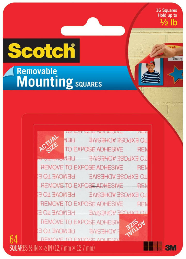 Scotch Removable Mounting Squares 1 2 Quot X 1 2 Quot Double Sided