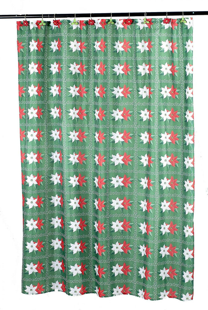 Holiday Christmas Winter Poinsettia Fabric Shower Curtain Standard Size 70 X 72 Ebay