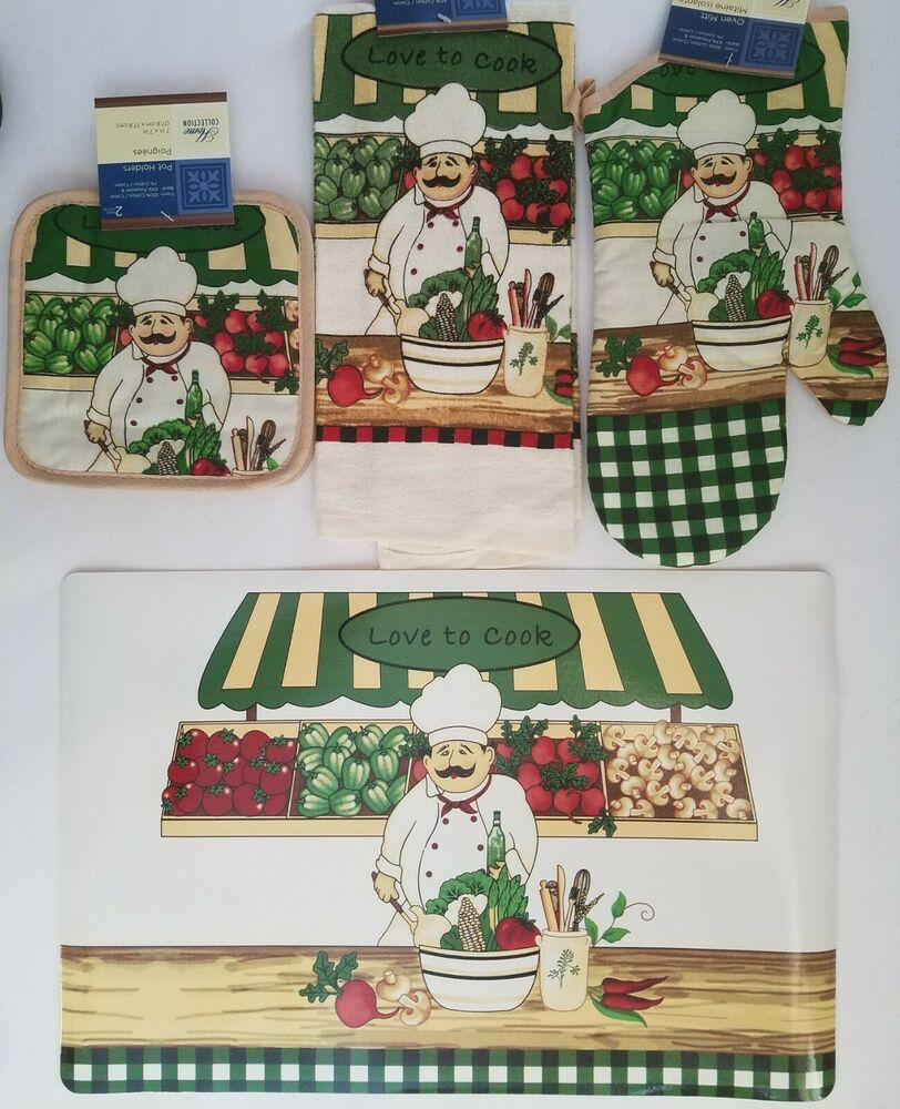 Kitchen chef love to cook theme linen placemat 7 pc set for Kitchen set items