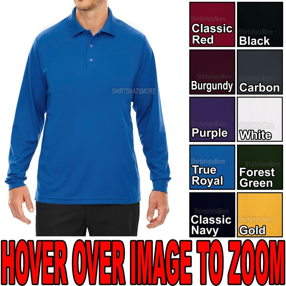 Mens performance dri fit wicking long sleeve polo golf for Mens 5x polo shirts