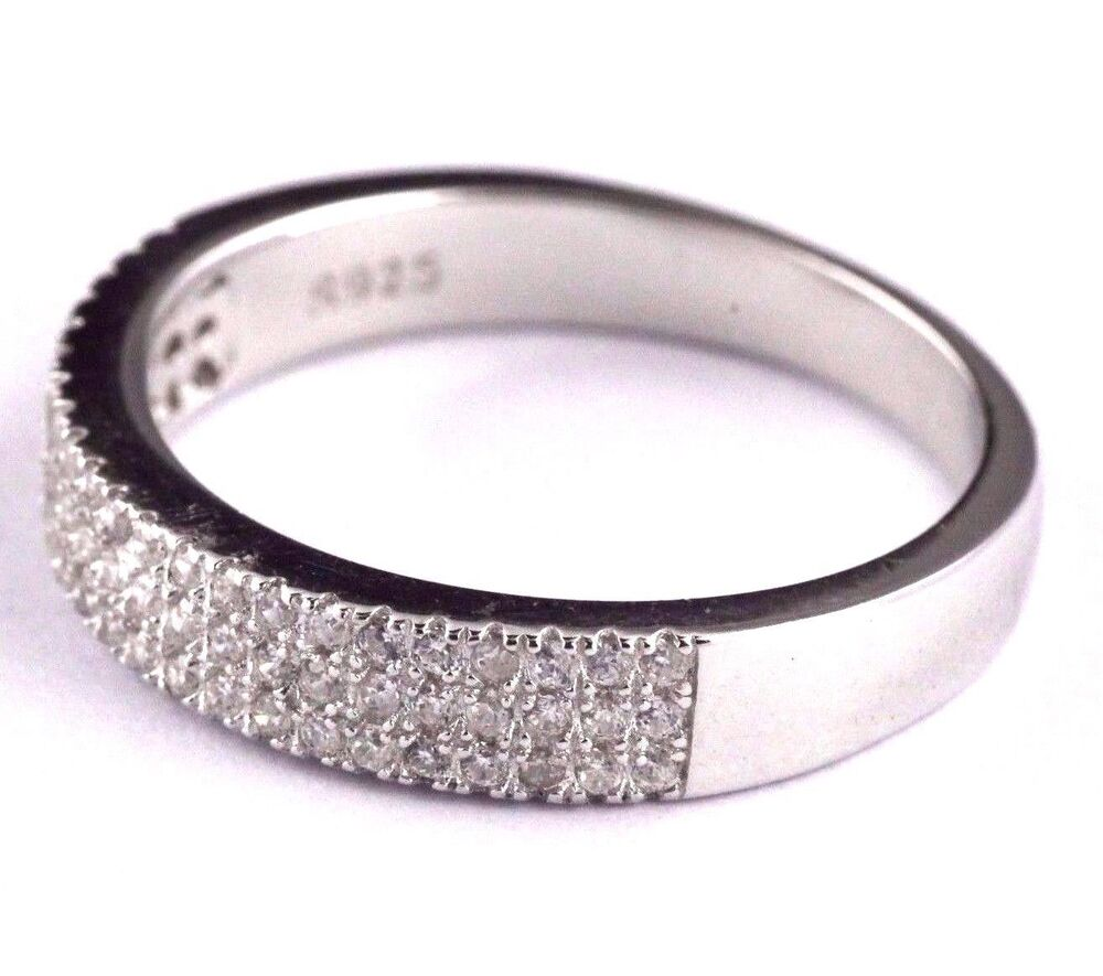 womens 925 sterling silver cz micro pave wedding band engagement ring 4mm wide ebay. Black Bedroom Furniture Sets. Home Design Ideas