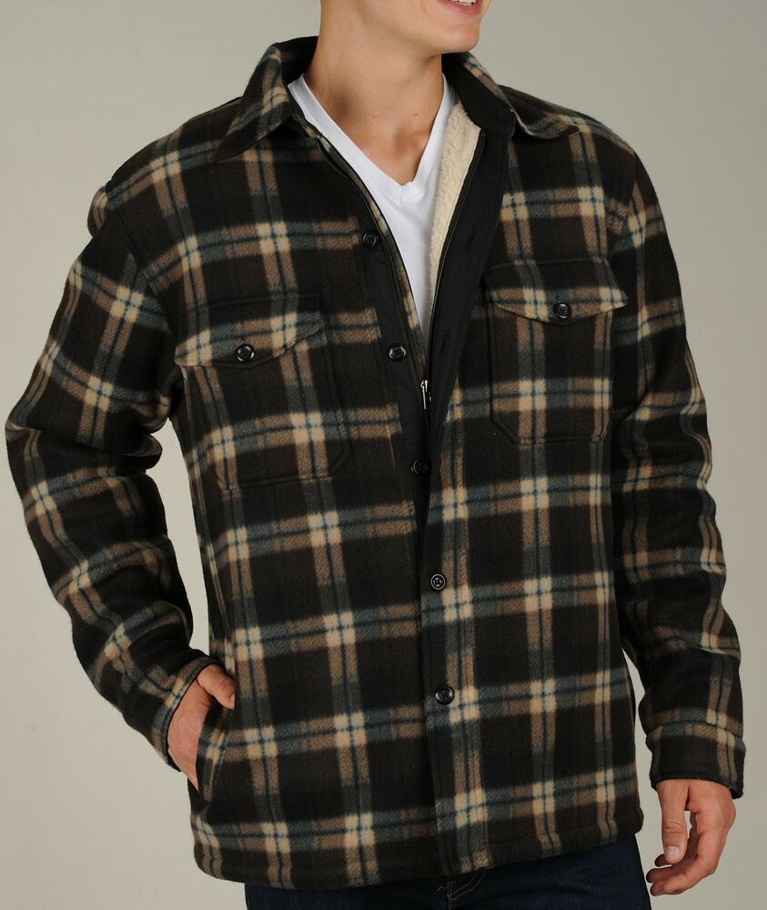 Maxxsel Men 39 S Heavy Thick Printed Plaid Sherpa Lined