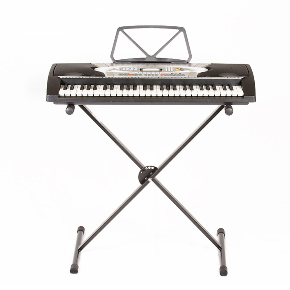 heavy x stand metal adjustable music keyboard electronic piano portable rack ebay. Black Bedroom Furniture Sets. Home Design Ideas