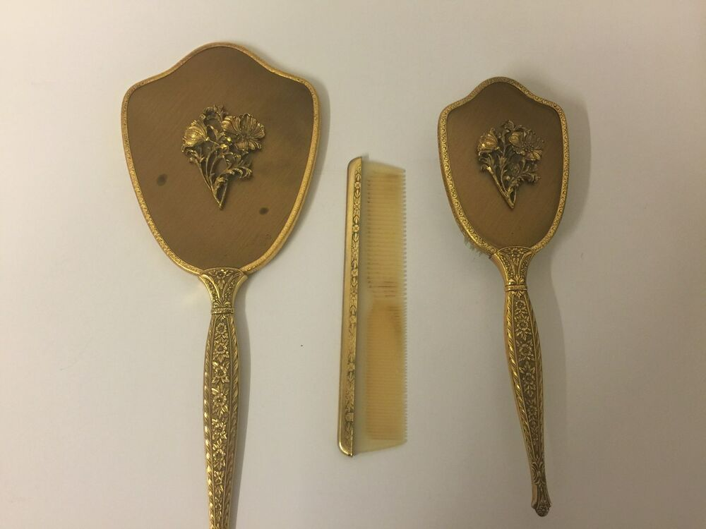 Vintage Vanity Dresser Set Brush Mirror Comb 24k Gold