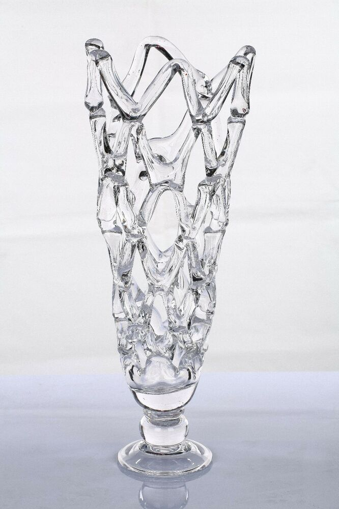 New 19 large hand blown glass art clear web vase for Architectural glass art