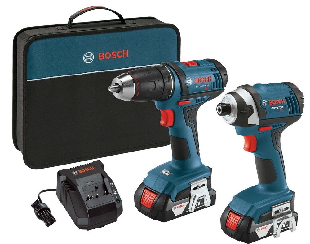 bosch 18v 1 2 inch drill 1 4 inch hex impact driver refurbished clpk26 181 ebay. Black Bedroom Furniture Sets. Home Design Ideas