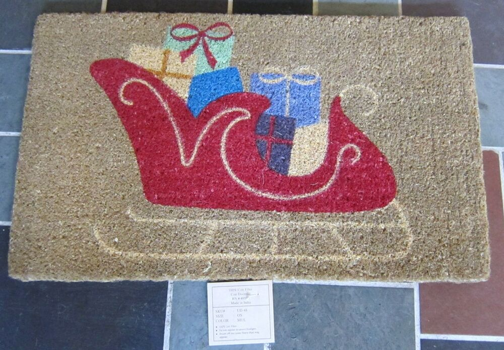 Sleigh With Presents Thick Natural Coir Door Mat New 30 Quot X