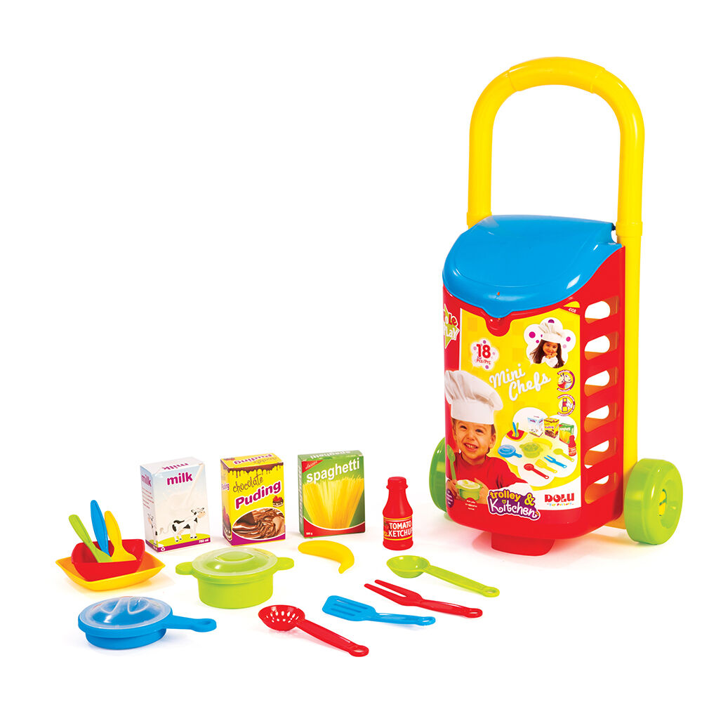 Kitchen Set Online Shopping: Kids 18 PCS Kitchen Shopping Trolley Cart Role Play Toy