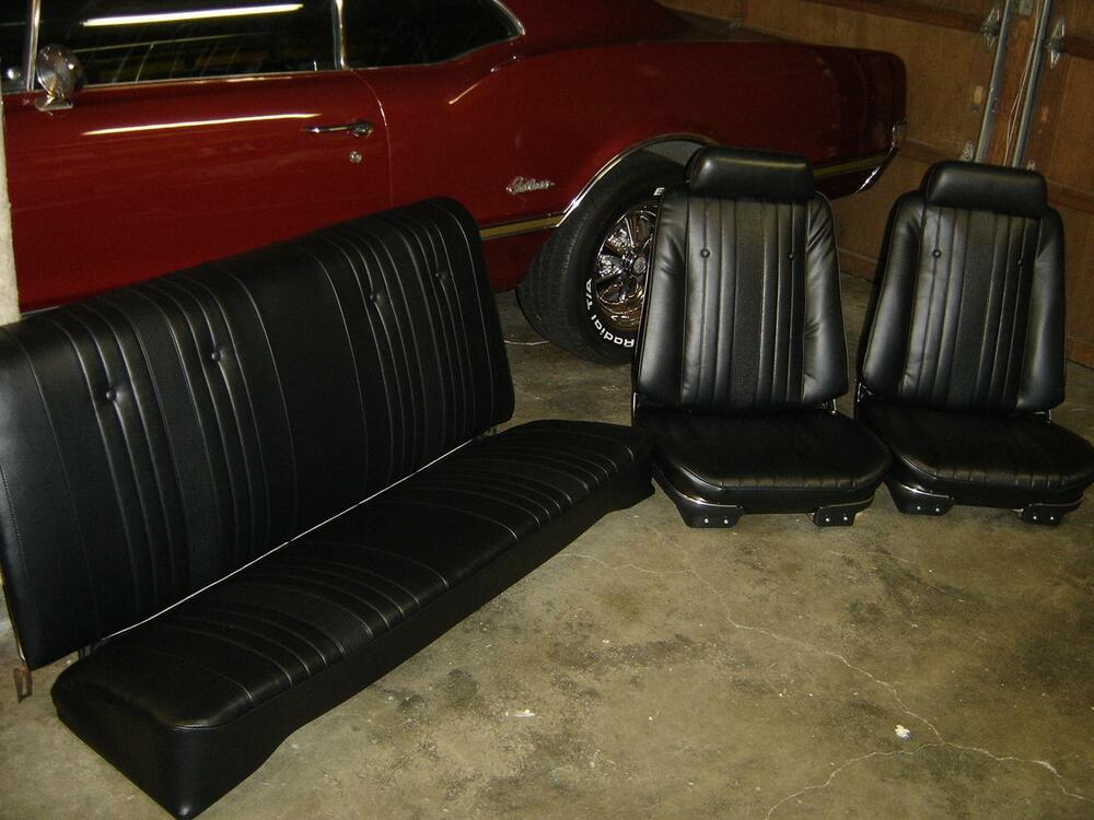 1969 69 Chevelle Seat Covers Black Bucket Front Coupe Rear