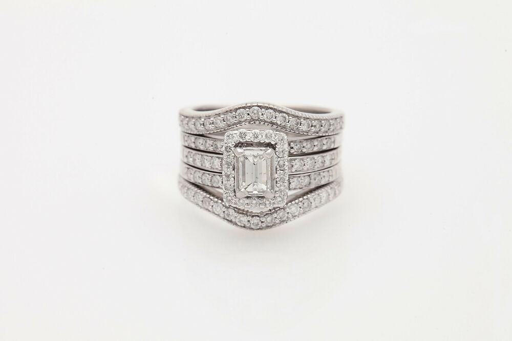 Designer $10 000 3ct VS H Emerald Cut Diamond 14k White Gold Wedding Ring Set