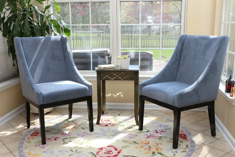 Set of 2 modern blue arm slipper dining sofa chair accent for Dining room arm chairs