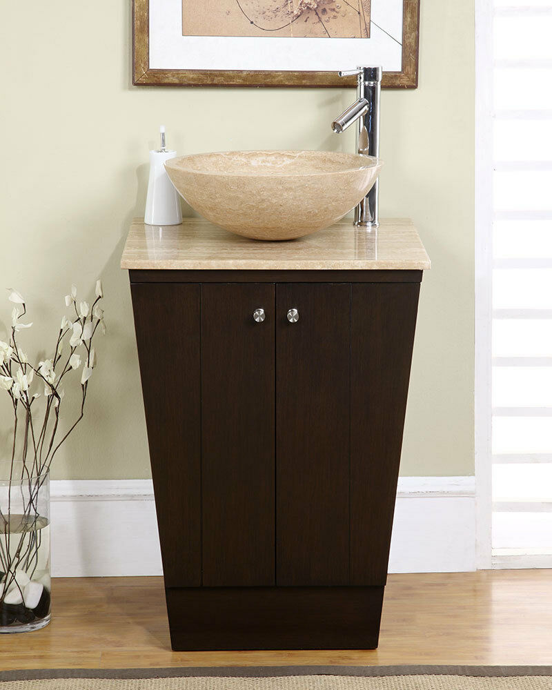 "22"" Travertine Stone Vessel Vanity Single Sink Bathroom Storage Cabinet 155T"